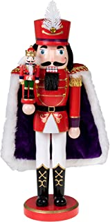 Clever Creations Red Prince Wooden Nutcracker Wearing Purple Cape Holding Toy Nutcracker Gift | Festive Decor | Perfect for Shelves and Tables | 100% Wood | 14