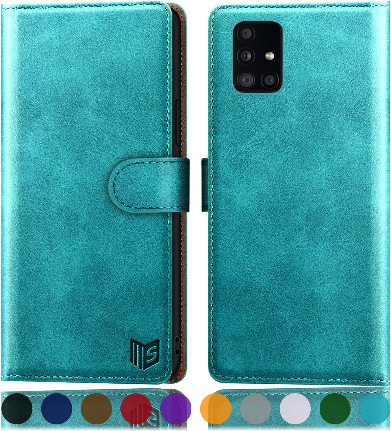 SUANPOT for Samsung Galaxy A51 4G (Not Fit A51 5G) Leather Wallet case with RFID Blocking Credit Card Holder, Flip Folio Book PU Cell Phone Cover Shockproof Wallet Pocket for Men Women Blue Green