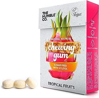 Natural Chewing Bubble Gum (6pk) - Organic, Vegan, Sugar Free, Aspartame Free, Non GMO, 100% Xylitol (Tropical Fruits)