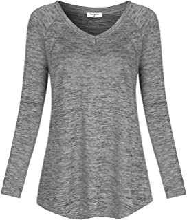 Soogus Women's Long Sleeve Yoga Tops V Neck Workout Shirts Athletic Wear