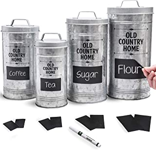 Farmhouse Kitchen Canisters Set by Saratoga Home – Bonus Removable Chalkboard..