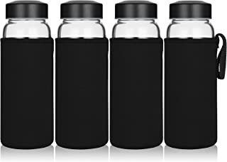 Wide Mouth 16 oz High Borosilicate Glass Bottle Set - 4 Pack with 4 Sleeves Stainless Steel Lids for Juice Smoothies Reusable Dishwasher Safe