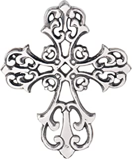 Ardour Antique Silver and Black Wall Cross for Home Decor.Metal Hanging Decorative Crosses Wall Decor - 8 x 10 Inches