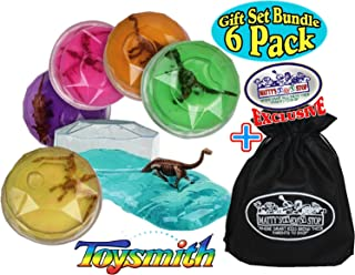 Toysmith Dinosaur Putty Fossil Discovery (Slime) Complete Gift Set Party Bundle with Exclusive Matty's Toy Stop Storage Bag - 6 Pack