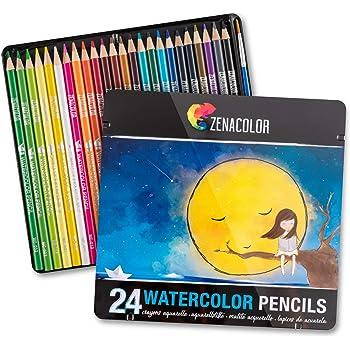 24 Crayons Aquarellables Numerotes Avec Pinceau Et Boite Metal