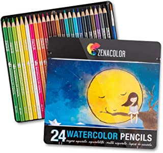 24 Watercolor Pencils Professional, Numbered, with a Brush and Metal Box - 24 Water Color Pencils for Adults and Adult Coloring Books - Watercolor Pencil for Kids, Colored Pencils, Art Set