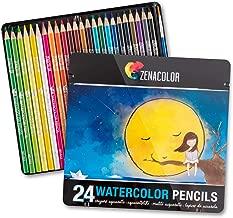 Zenacolor ⭐24 Lápices de Colores Acuarelables, Numerados con Pincel en Caja Metálica Set de Ecolápices Acuarelables de Colores - Únicos y Diferentes - Coloreado para Adultos y Artistas
