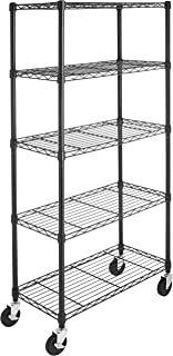 AmazonBasics 5-Shelf Shelving Storage Unit on 4'' Wheel Casters, Metal Organizer Wire Rack, Black (30L x 14W x 64.75H)