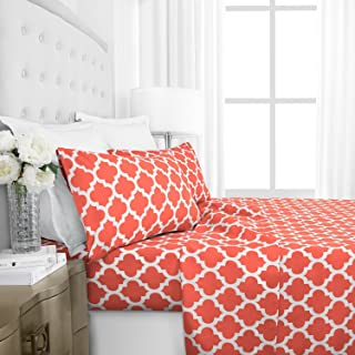 Italian Luxury 1800 Series Hotel Collection Quatrefoil Pattern Bed Sheet Set - Deep Pockets, Wrinkle and Fade Resistant, Hypoallergenic Printed Sheet and Pillow Case Set -Queen - Coral