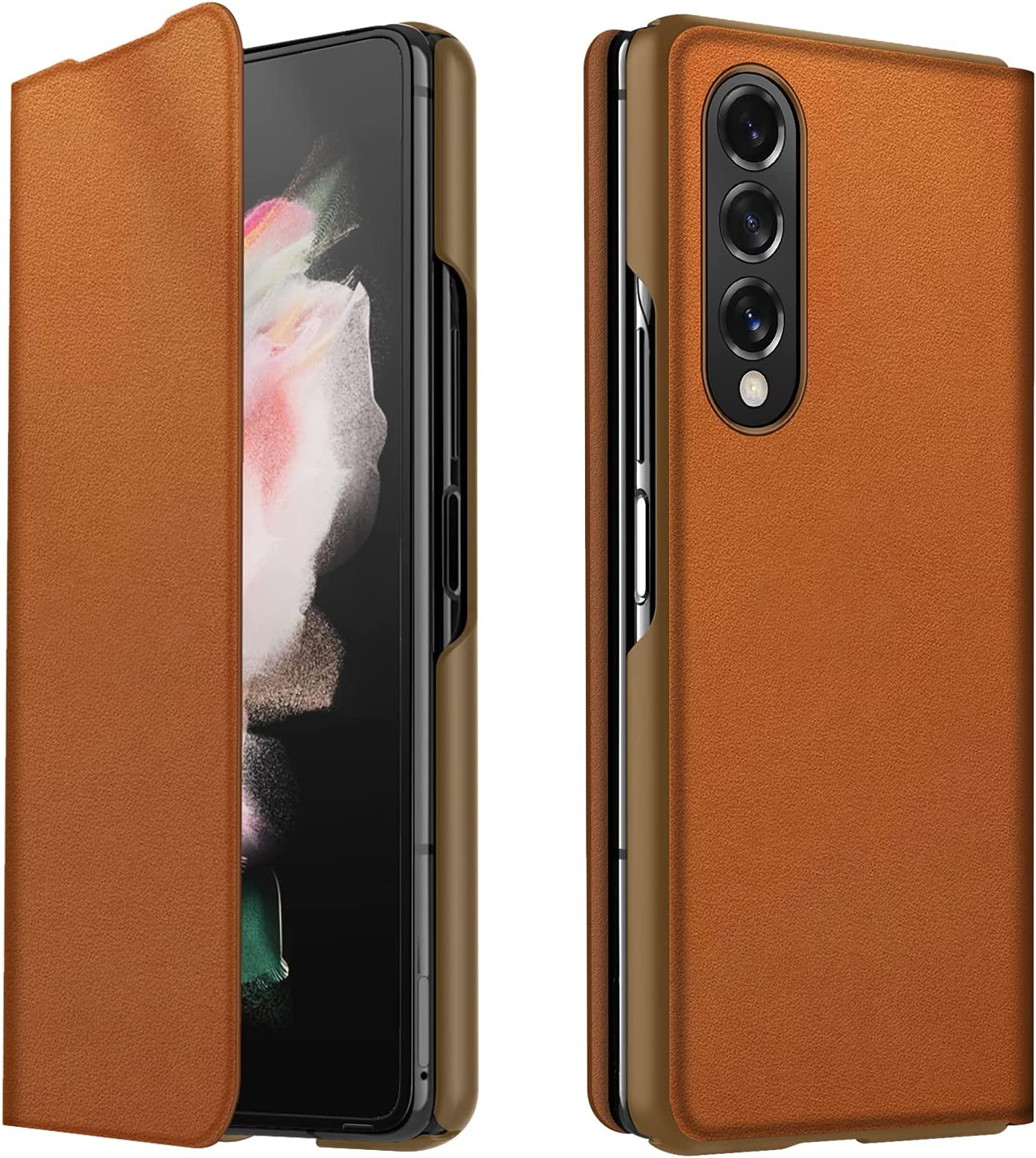 CENMASO Designed for Samsung Galaxy Z fold 3 Case, Ultra-Thin Leather Magnetic Flip Bumper Case for Galaxy z Fold 3 (2021)- Saddle Brown