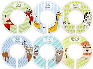 Minnebaby Pieces Clothing Rack Size Dividers Baby Kids Closet Round Dividers with 0-3 Months 18-24 Months  Pack