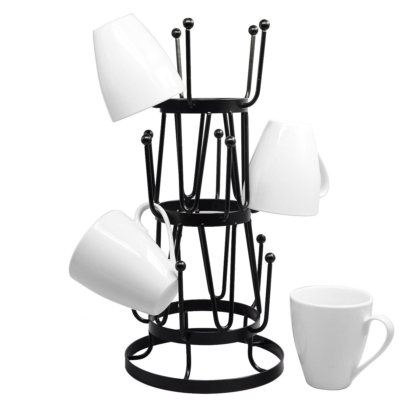 Stylish Steel Mug Tree Holder Organizer Rack Stand (Black)