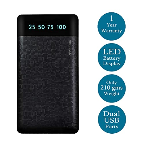 Czar Matrix Slim Pocket size 10000 MAh Power Bank for All Smart Phones