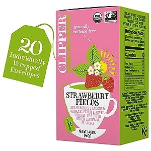 Clipper Organic Strawberry & Elderflower, Strawberry Fields - USDA Organic, Non-GMO, Fair Trade, Caffeine Free Tea, 1 Pack, 20 Unbleached Tea Bags