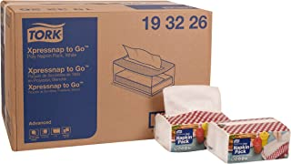 """Tork 193226 Xpressnap to Go Portable Napkin Pack, Interfold, 1/4 Fold, 1-Ply, 8.5"""" Length x 13.0"""" Width, White (Case of 36 Packs, 136 per Pack, 4,896 Napkins)"""