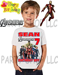 Avengers Infinity War Blue Personaliz​ed Birthday Party Gift T-Shirt NEW