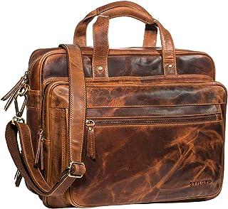"STILORD Walt"" Vintage Aktentasche Leder Herren Damen Lehrertasche XL groß Büro Business Umhängetasche für 15,6 Zoll Laptop Echt Leder, Farbe:Kara - Cognac"
