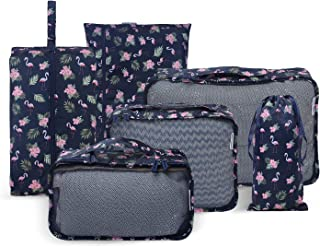 YOZOOM Travel Packing Cubes Luggage Organizers Bags for Suitcase with Shoe Bag and Laundry Bag Sock Bag (Flamingo-Navy Blue)