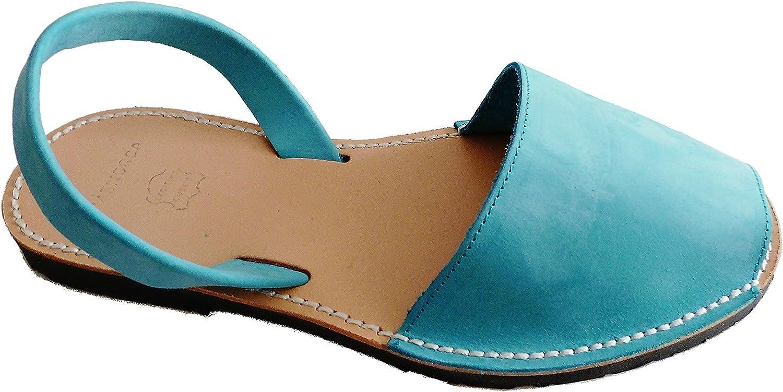 Authentic Menorcan Sandals, color Turquesa Nobuck, Avarcas Menorquínas Abarcas, Albarcas.