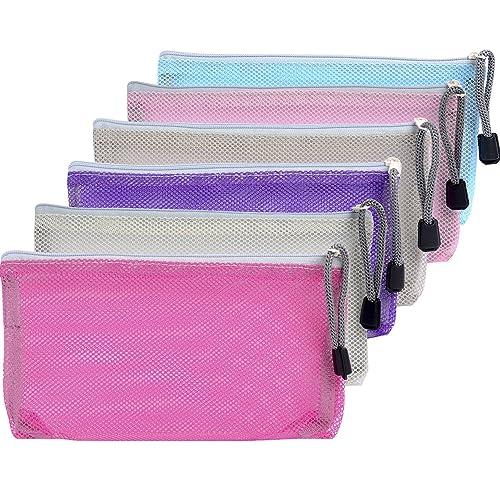 e9ae4da67d0e Mudder 6 Pieces Travel Zipper Mesh Bag Makeup Zip Bag Mesh Pouch Organizer  for Toiletry and