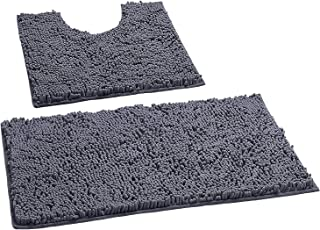 LuxUrux Bathroom Rugs Luxury Chenille 2-Piece Bath Mat Set, Soft Plush Anti-Slip Bath..