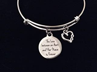 The Love Between an Aunt and Her Niece is Forever Expandable Charm Bracelet Adjustable Silver Wire Bangle Gift Infinity Open Heart