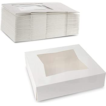 "Beautiful White Pastry, Bakery Box - Keep Doughnuts, Cookies, Muffins Safe - Unique Auto Popup Feature and Clear Window for Visibility Size 8"" Length X 8"" Width X 2 1/2"" Height - (25 Pieces)"
