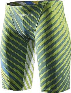 MY KILOMETRE Jammer Swimsuit Mens Solid Swim Jammers Endurance Long Racing Training Swimsuit, Green, Medium