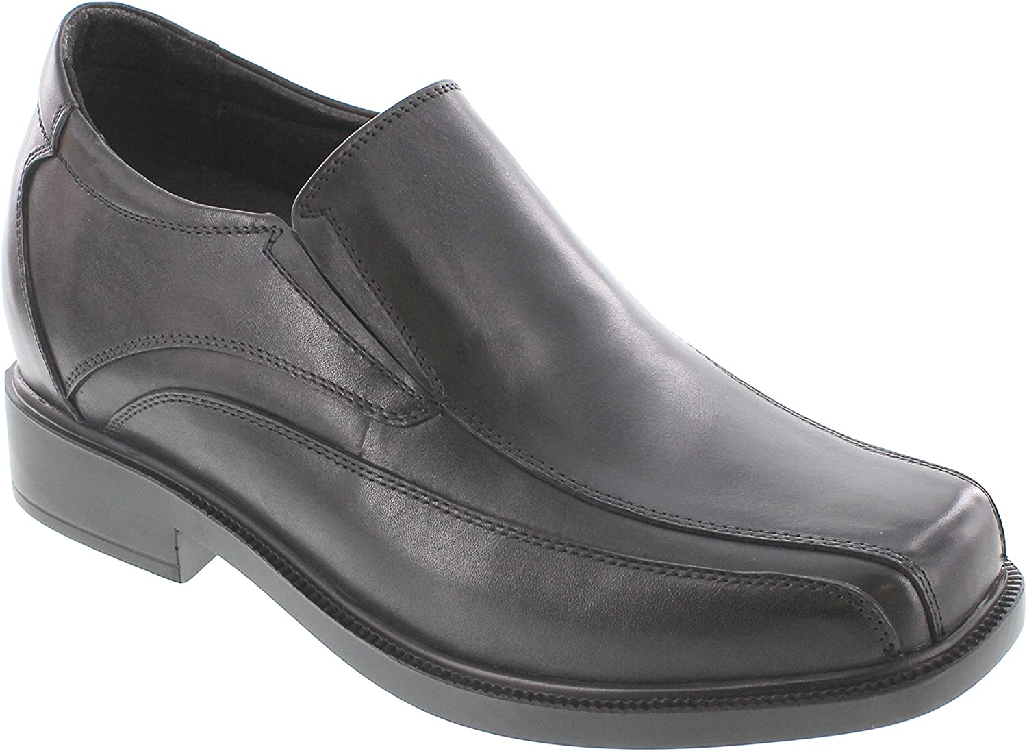 CALTO Men's Invisible Height Increasing Elevator shoes - Black Premium Leather Slip-on Casual Loafers - 3.3 Inches Taller - T5273
