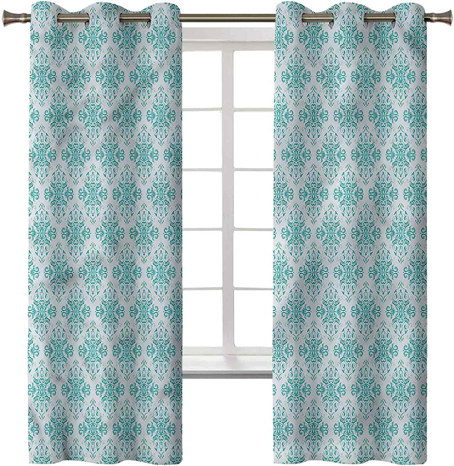 Damask Thermal Insulated Curtains Set of Panels Inch Popular product Selling and selling 42 x 2 84