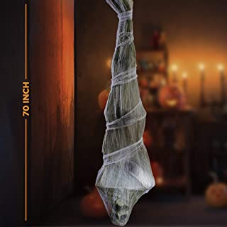 Prextex Halloween 70-Inch Hanging Cocoon Corpse for Halloween Outdoor Decorations - Large Dead Body Cocoon Corpse for Spoo...
