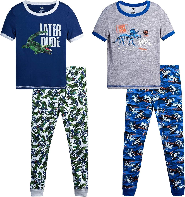 Only Boys Pajama Set - Boys' 4 Piece Snug Fit Short Sleeve T-Shirt and Jogger Sweatpants Sleepwear Set