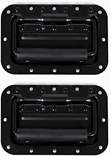 TCH Hardware 2 Pack Medium Spring Loaded Steel Recessed Handle Black with Padded Grip Case Chest Box