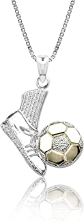 Sterling Silver and 14k Yellow Gold Soccer Shoe and Ball Necklace Pendant with 18