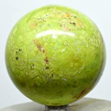67mm Apple-Green Opal Sphere Natural Mineral Decor Ball Sparkling Crystal Polished Stone - Madagascar + Stand