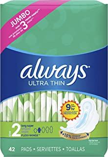 Always Ultra Thin Feminine Pads with Wings for Women, Size 2, 126 Count, Super Absorbency, Unscented (42 Count, Pack of 3 - 126 Count Total)