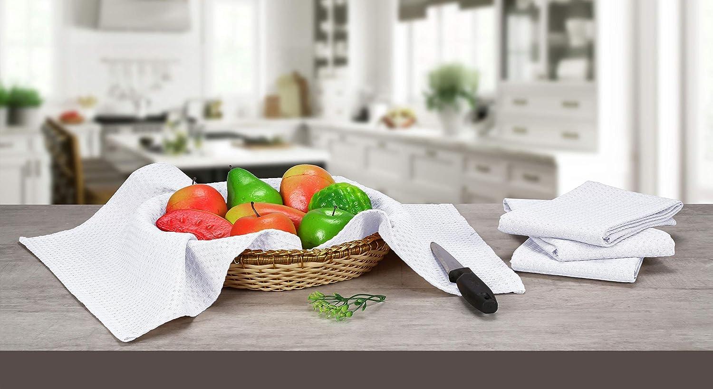 Native Fab Set di 6 Strofinaccio Cucina Cotone Strofinacci Asciugapiatti Assorbenti Lavabili in Lavatrice Strofinaccio Cucina con Passante per Appendere 40 x 66 cm Bianco