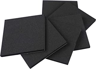 Foam Padding, Self Stick Adhesive Weather Stripping Rubber Sheet Non-Slip Furniture Pads Black Foam Strip 4 Inch Long X 4 Inch Wide X 1/4 Thickness(6Pcs)