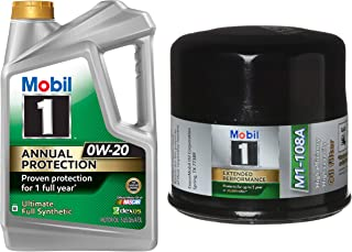 Mobil 1 Annual Protection Synthetic Motor Oil 0W-20, 5-Quart, Single Bundle M1-108A Extended Performance Oil Filter