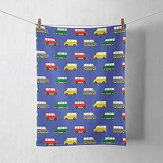 Fondo azul con una toalla de cocina de diseño furgoneta camper multicolor