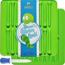 Premium Gummy Worms Mold Silicone – 2 Pack Bonus Dropper & Recipe Pdf – 40 Worm Candy Molds – Bpa Free Fda Approved Making Halloween Gummi Chocolate & Gelatin Maker Fishing Lures