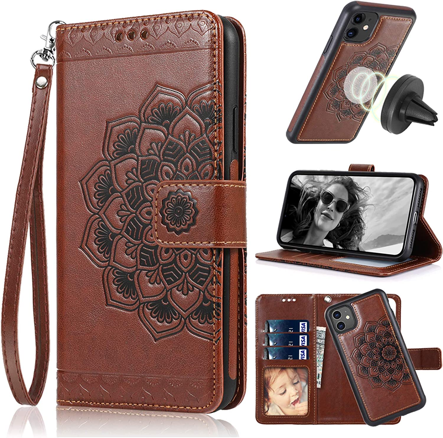 CASEOWL iPhone 11 Case, iPhone 11 Wallet Case 2 in 1 Detachable Slim Fit Car Mount,with Card Holder,Kick Stand,RFID Protection,Strap,Mandala Embossed Leather Wallet Case for iPhone 11-6.1 inch,Brown