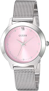 GUESS SILVER-TONE AND PINK DIAMOND ANALOG WATCH
