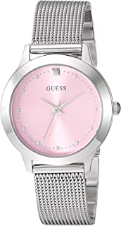 GUESS Stainless Steel Mesh Bracelet Watch with Pink Genuine Diamond Dial. Color: Silver-Tone (Model: U1197L3)