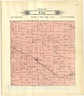 Historic 1903 Map - Plat Book of Lancaster County, Nebraska : containing Carefully Prepared Township plats, Village plats, Analysis of U.S. Land System - Plat of Elk 44in x 50in