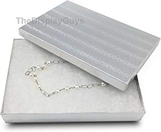 The Display Guys Pack of 25 Cotton Filled Cardboard Paper Silver Jewelry Box Gift Case - Silver Foil (8 1/8x5 5/8x1 3/8 inches #85)