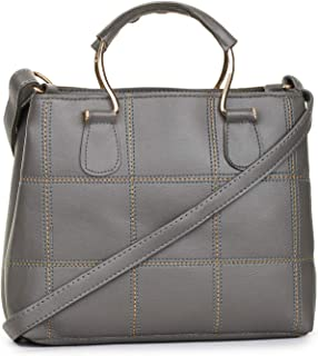 GLOSSY Women's PU Sling Bag with Handle and Crossbody Strap (Grey)