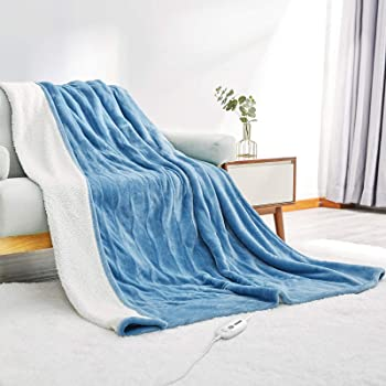 """Electric Heated Blanket Twin Size 62""""x 84"""" Flannel & Shu Velveteen Reversible, Fast Heating and for Full Body Warming with 10 Hours Auto Off & 4 Heat Settings, Machine Washable, Home Office Use"""