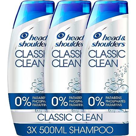 Head & Shoulders Classic Clean Anti Dandruff Shampoo Set, Dandruff Scalp Treatment, 3x 500 ml Shampoo Pack, Clinically Proven Deep Clean