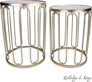 Round End Table Set - Gold End Tables with Mirrored Tops - Nesting Round Accent Tables - Gold and Mirrored Metal Side Tables - Rutledge & King Braswell End Table Set